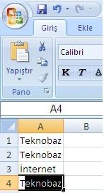 Microsoft Excel:Bir İki Harf Yazınca Excel Otomatik Olarak Kelimeyi Tamamlasın