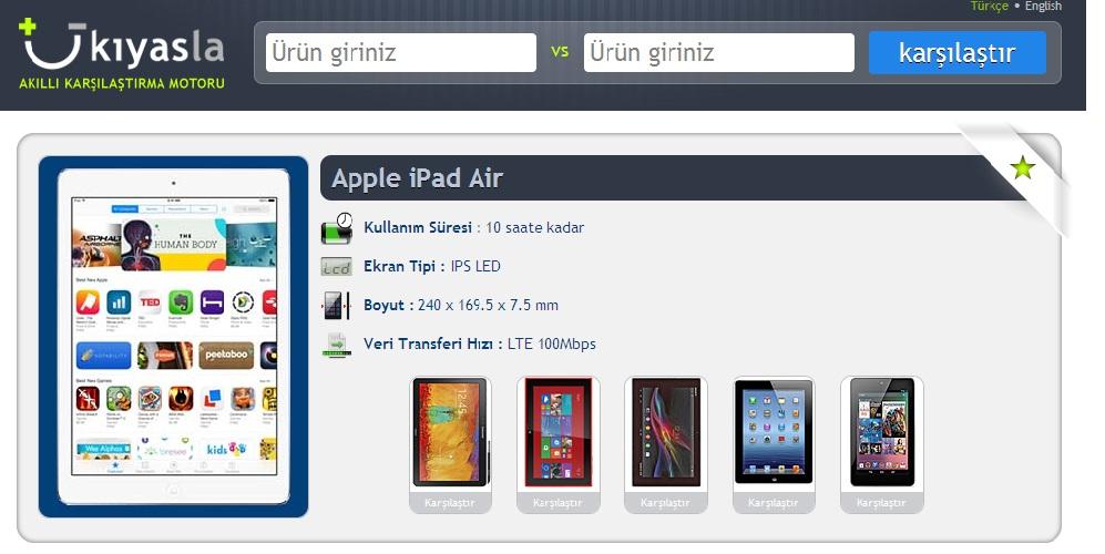 Kıyas.la-Cep Telefonu, Tablet vb. Kıyaslama Sitesi Kullan