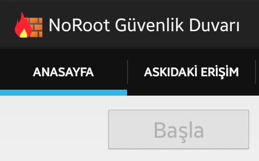 NoRoot: Android Güvenlik Duvarı Kullan