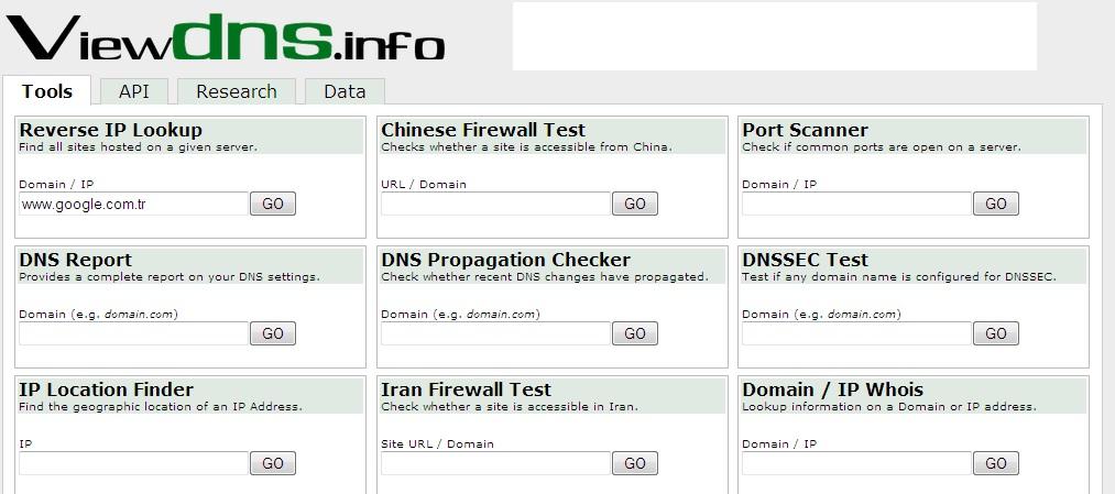 ViewDNS.info-İnternet Bağlantı Bilgilerini Öğren