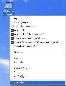 windows xp  kapat düğmesi